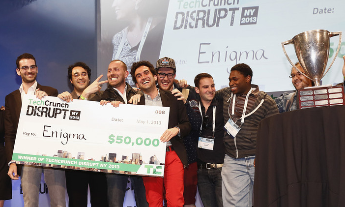 Wnners: Cofounders Jeremy Bronfman, Hicham Oudghiri, Raphael Guilleminot, and Marc DaCosta, with check